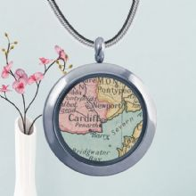 Circular Glass Double-Sided Map Pendant - Romantic Wedding, Anniversary or Valentine's Day Gift